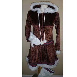 Women Eskimo Kisses Halloween Costume Dress Mitten